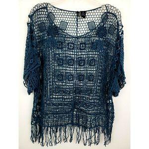 New Direction Crochet Top Sheer Overlay Fringe Hem